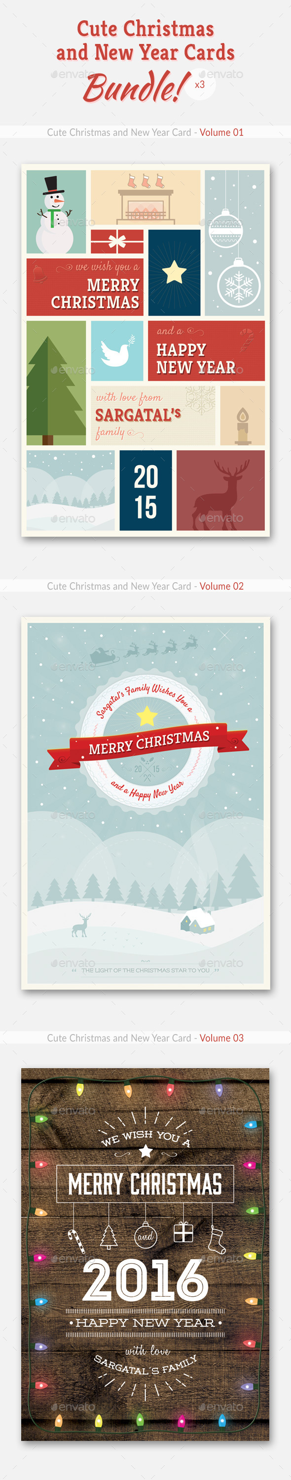 Cute Christmas and New Year Cards - Bundle 01 - Holiday Greeting Cards
