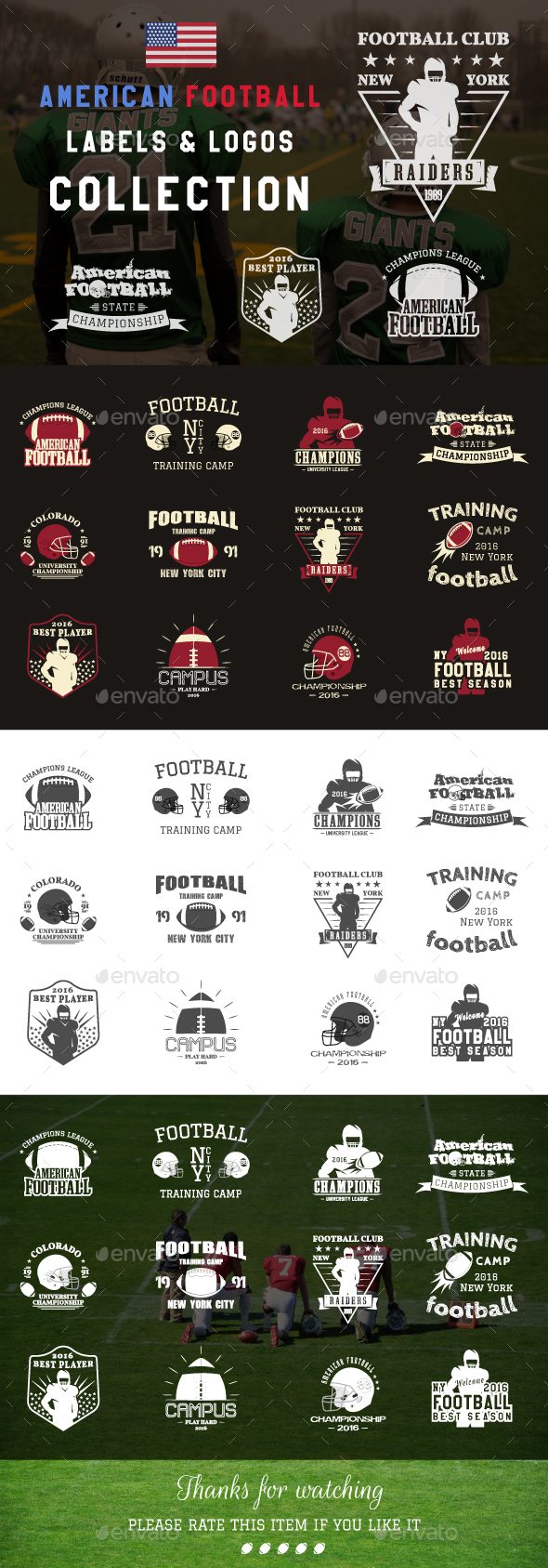 American Football Badges Collection - Badges & Stickers Web Elements