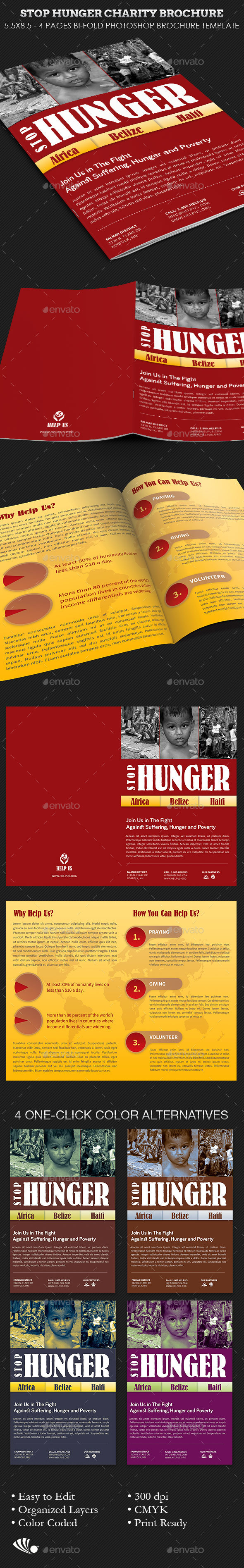 Stop Hunger Charity Brochure Template - Informational Brochures