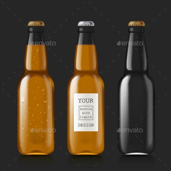 Sample Of Empty Beer Bottles - Objects Vectors