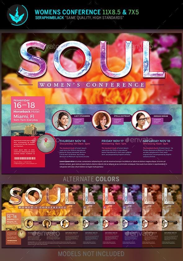 Soul: Women\'s Conference Flyer Template by SeraphimBlack | GraphicRiver