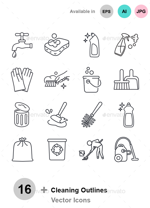 Cleaning Outlines Vector Icons - Man-made objects Objects