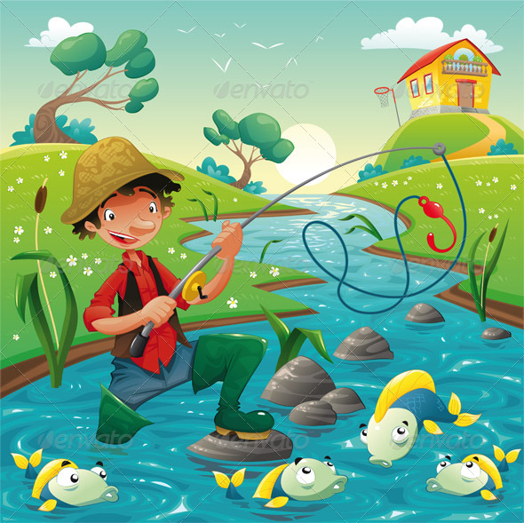 Cartoon scene with fisherman - Animals Characters