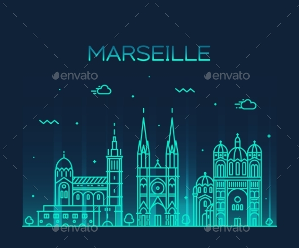 Marseille Skyline Silhouette Linear Style Vector - Decorative Symbols Decorative