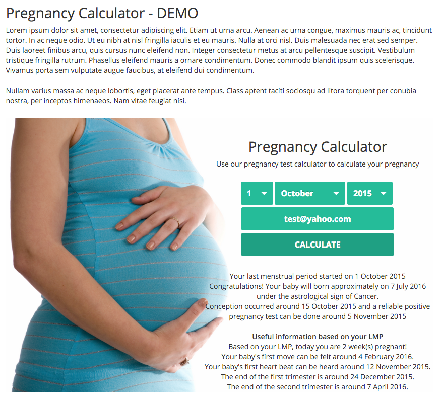 Pregnancy Due Date Calculator for WordPress + Add-ons