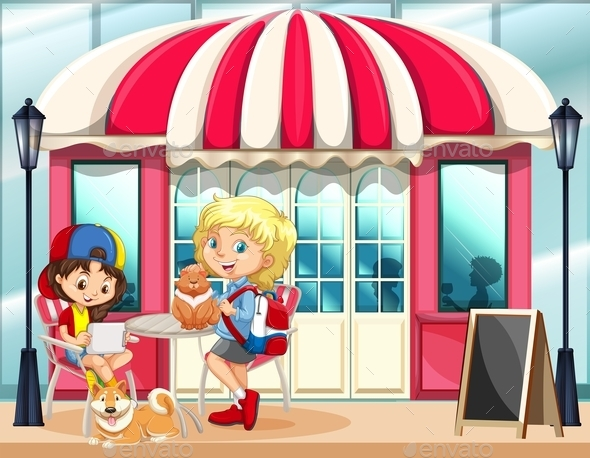 Children Hanging Out at the Cafe - People Characters