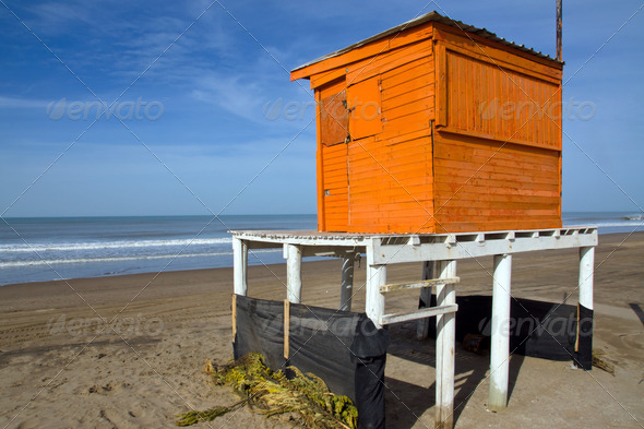Orange lifeguard tower - Stock Photo - Images