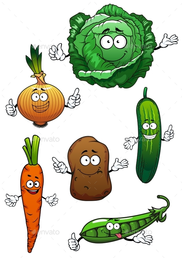 Fresh Healthful Vegetables Cartoon Characters - Food Objects