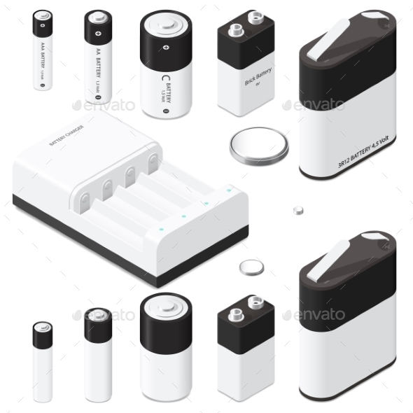 Battery And Battery Charger Isometric Icon Set - Miscellaneous Vectors