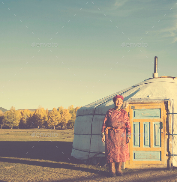 Mongolian Lady Standing Tent Scenic View Tranquil Concept - Stock Photo - Images