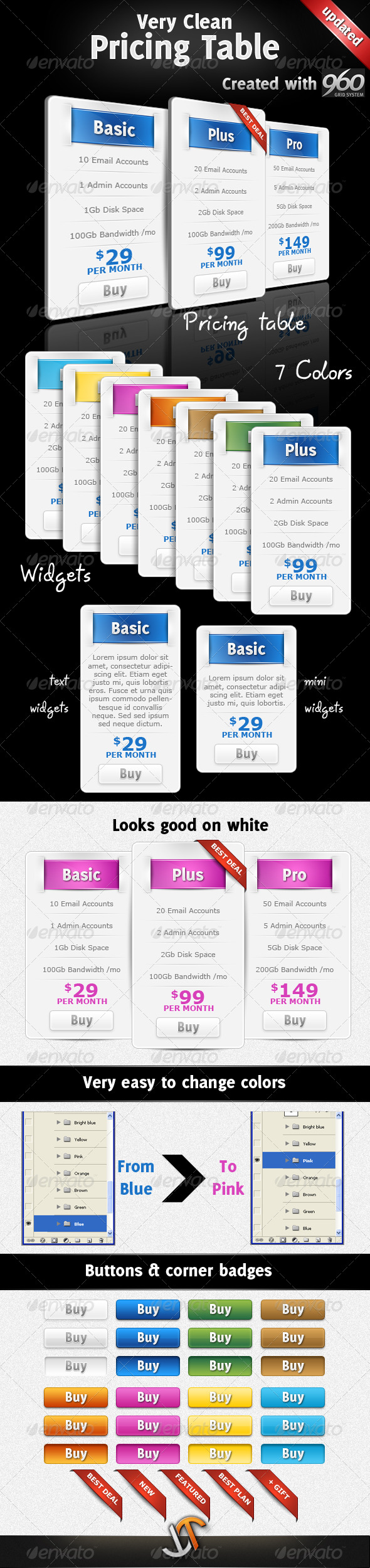 Very Clean Pricing Table with Widgets and 7 Colors - Web Elements