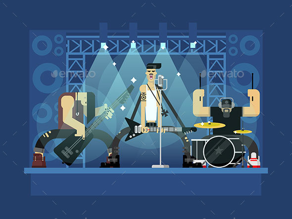 Rock Band Illustration - People Characters