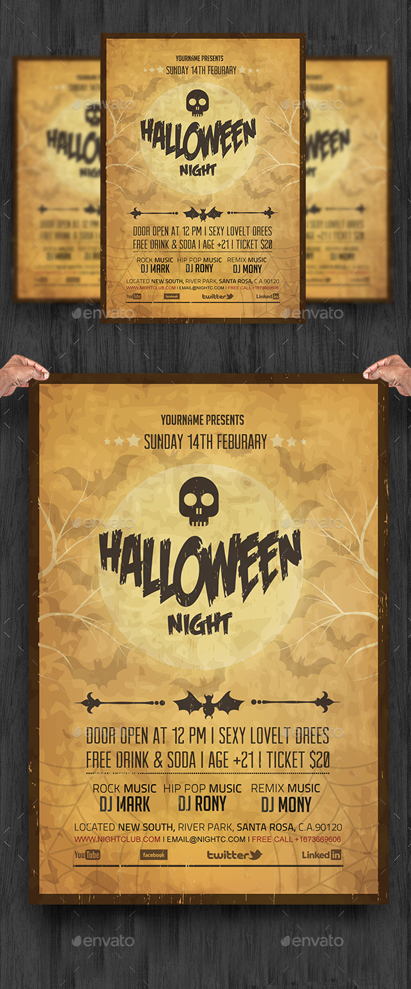 Vintage Halloween Night Party Flyer - Clubs & Parties Events