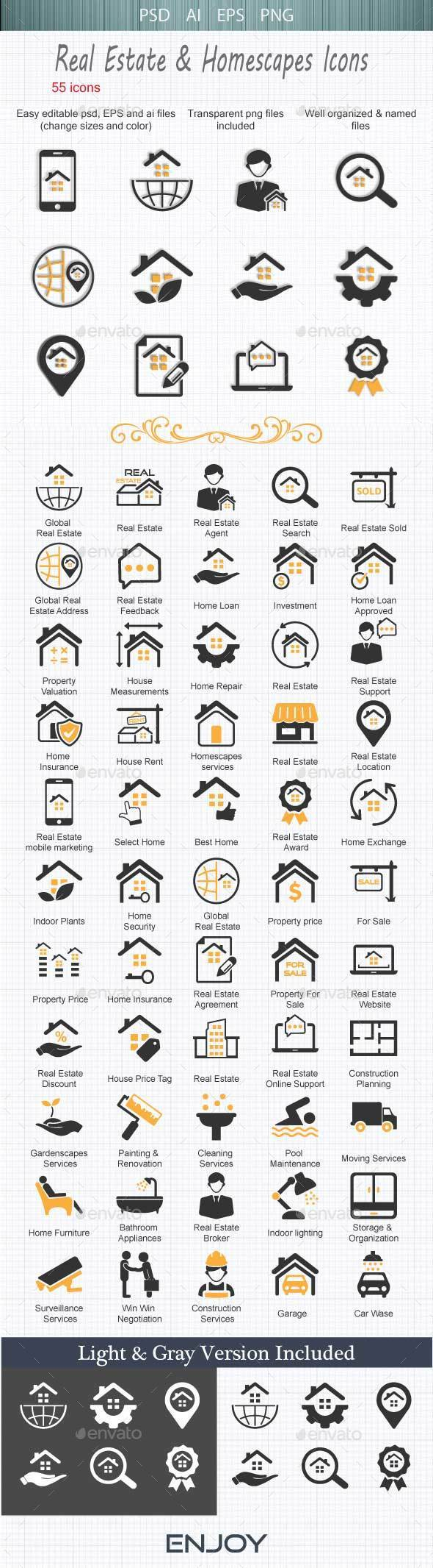 Real Estate & Homescapes Icons - Buildings Objects