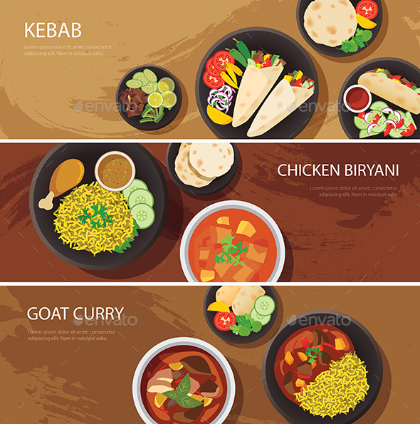 Halal Food Web Banner Flat Design  - Food Objects