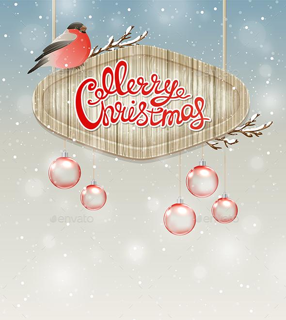 Christmas Background with Bullfinch - Christmas Seasons/Holidays