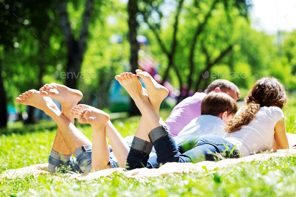 Picnic in garden - Stock Photo - Images