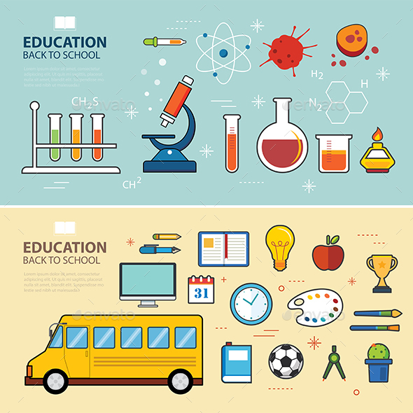 Education and Back to School Banner Concept - Man-made Objects Objects