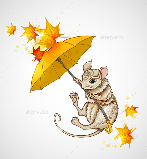 Mouse Flying Under the Umbrella - Animals Characters