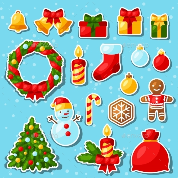 Set Of Merry Christmas And Happy New Year Sticker - Christmas Seasons/Holidays