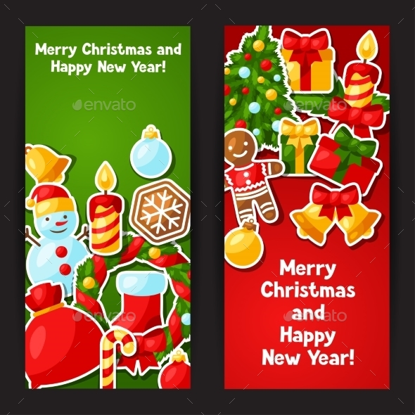 Merry Christmas And Happy New Year Sticker Banners - Christmas Seasons/Holidays