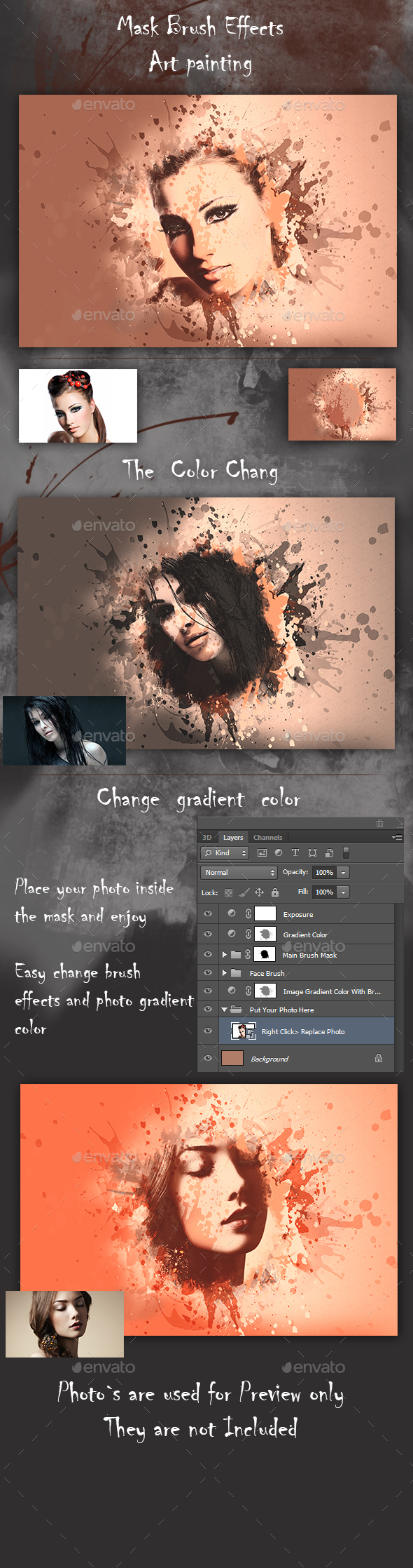Artistic Brush Photo Frame - Photo Templates Graphics