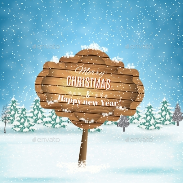 Winter Background With Presents. Vector. - Christmas Seasons/Holidays