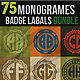 75 Monogrames Badge Labals With Alphabet Bundel - GraphicRiver Item for Sale