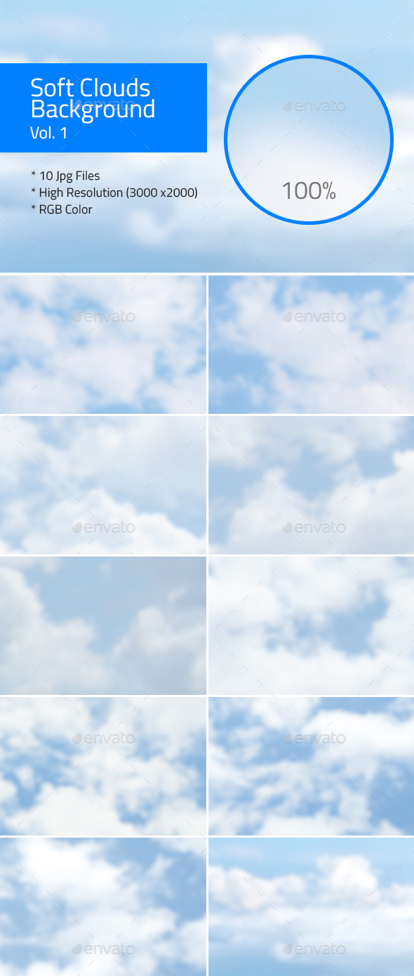 Soft Clouds Background Vol.1 - Nature Backgrounds