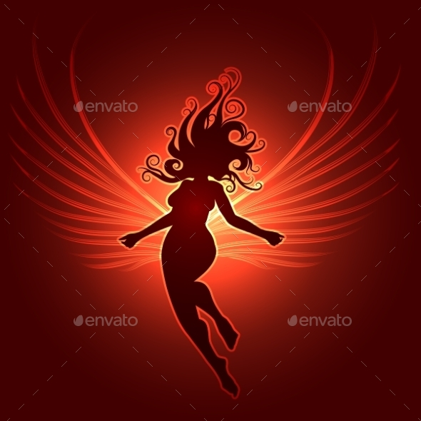 Winged Girl In Fantasy Style - Miscellaneous Vectors