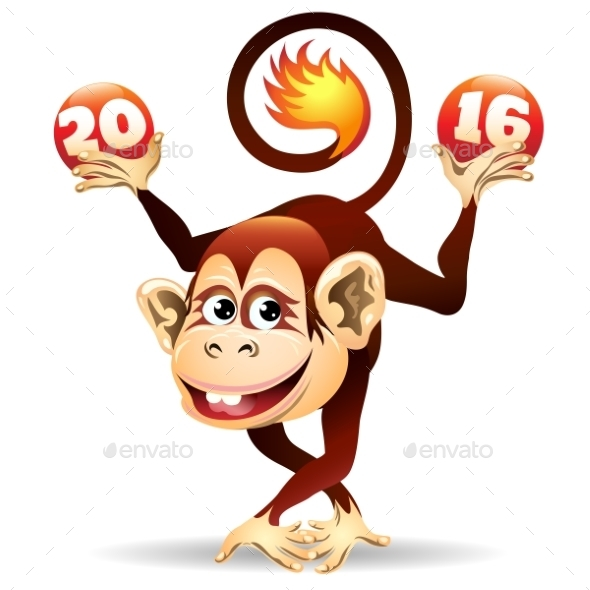 Cheerful Fire Monkey - Miscellaneous Seasons/Holidays