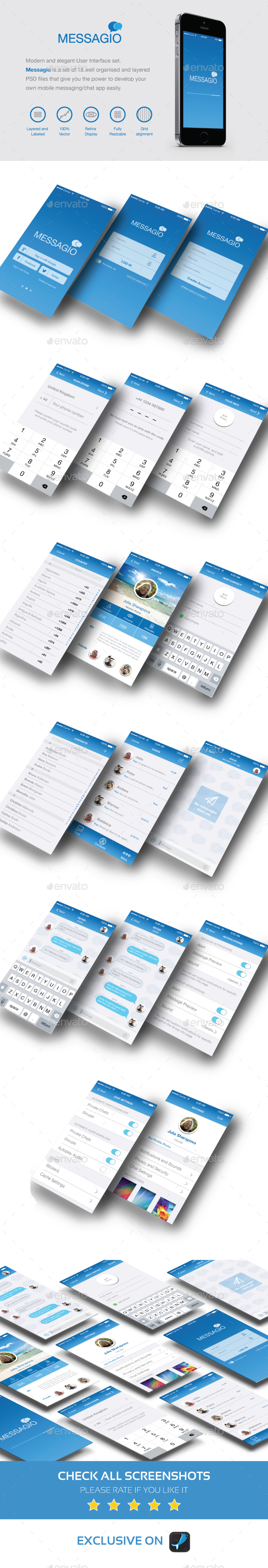 Messagio - Mobile User Interface Set - User Interfaces Web Elements