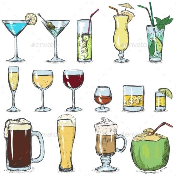 Vector Set Of Color Sketch Cocktails - Food Objects