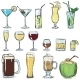 Vector Set Of Color Sketch Cocktails - GraphicRiver Item for Sale