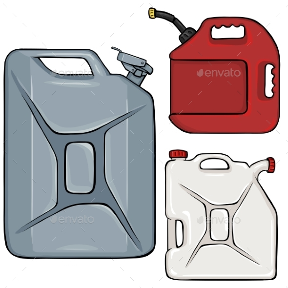 Vector Set Of Color Cartoon Jerry Cans - Man-made Objects Objects
