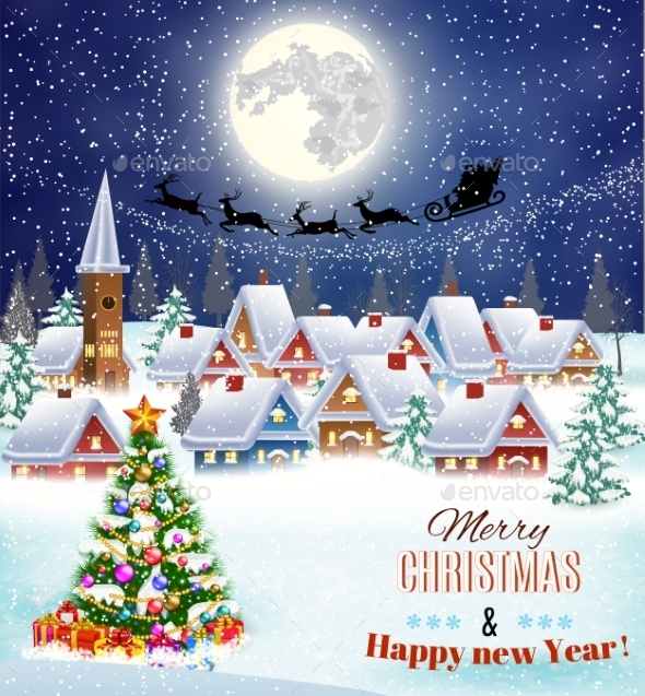 Snowy Village Landscape  - Christmas Seasons/Holidays
