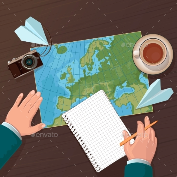 Illustration Of Travel Planning. Top View - Travel Conceptual