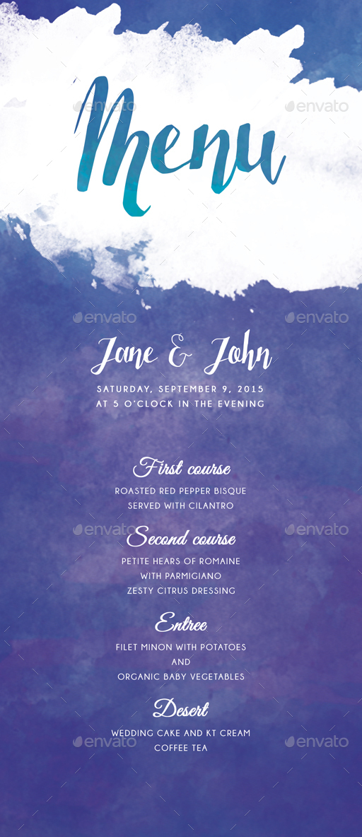 Watercolor wedding invitations by bnimit graphicriver watercolor wedding invitations junglespirit Choice Image