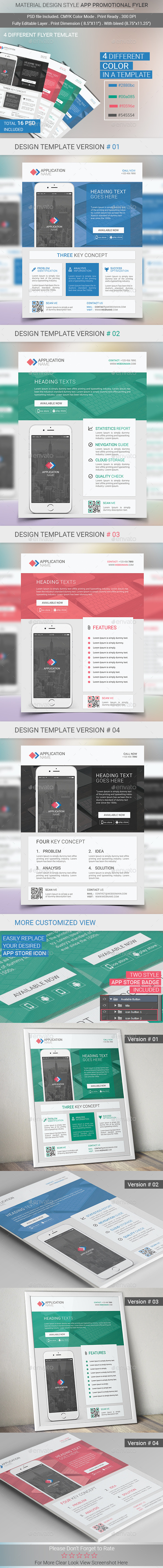 Material Design Mobile App Promotional Flyer - Commerce Flyers