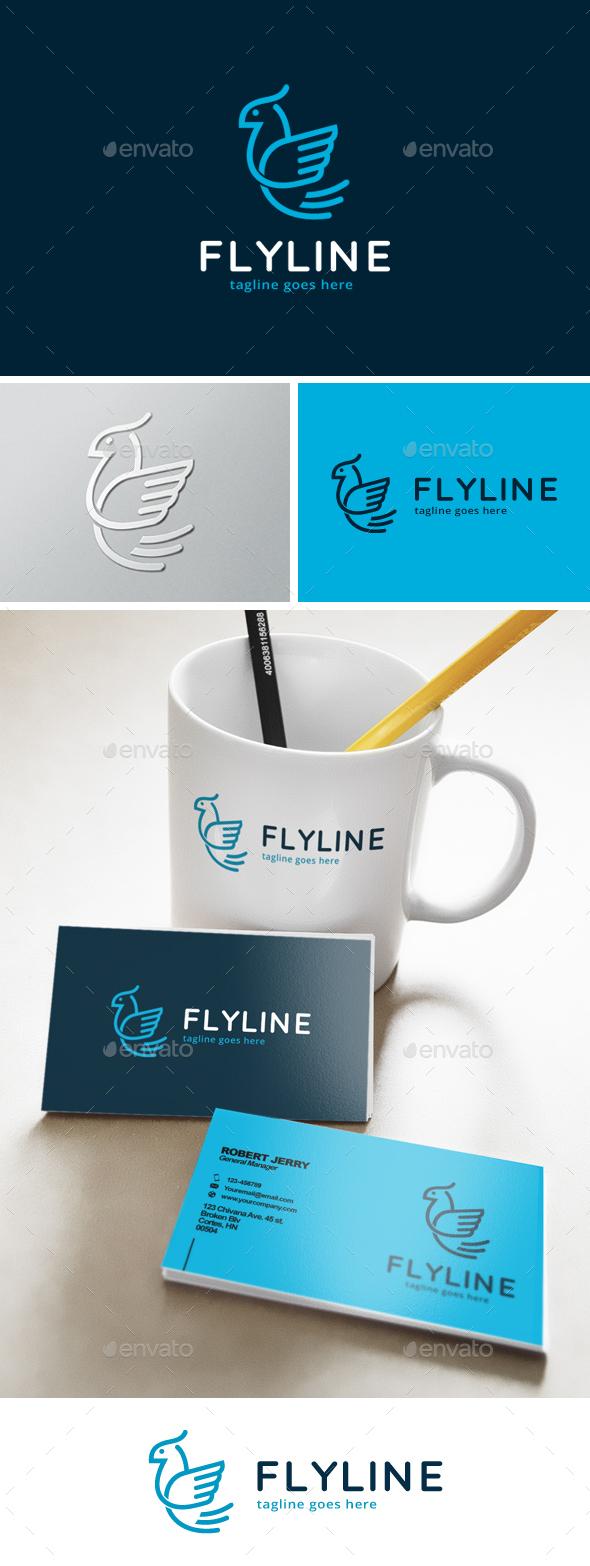 Fly Bird Line Logo - Animals Logo Templates