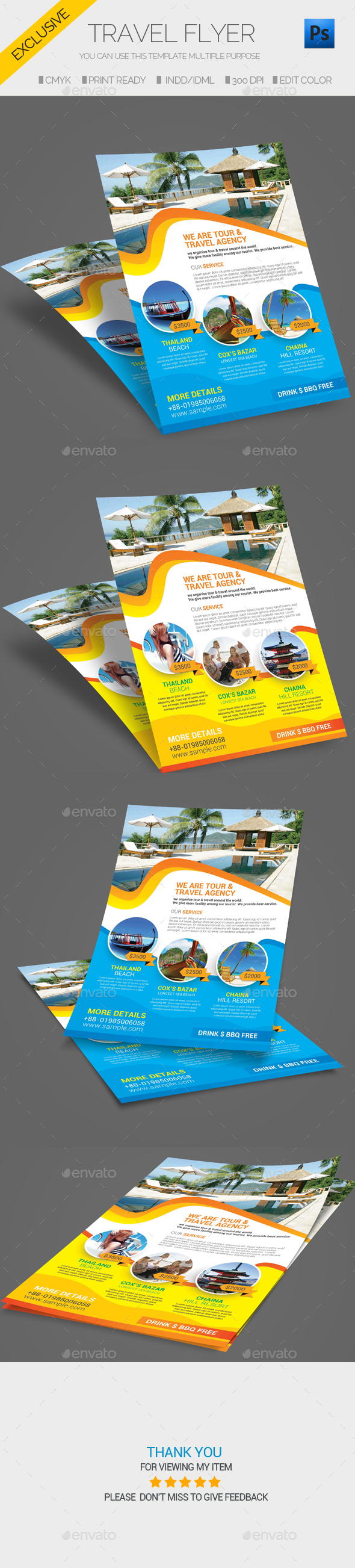 Travel Tour Flyer Template - Flyers Print Templates