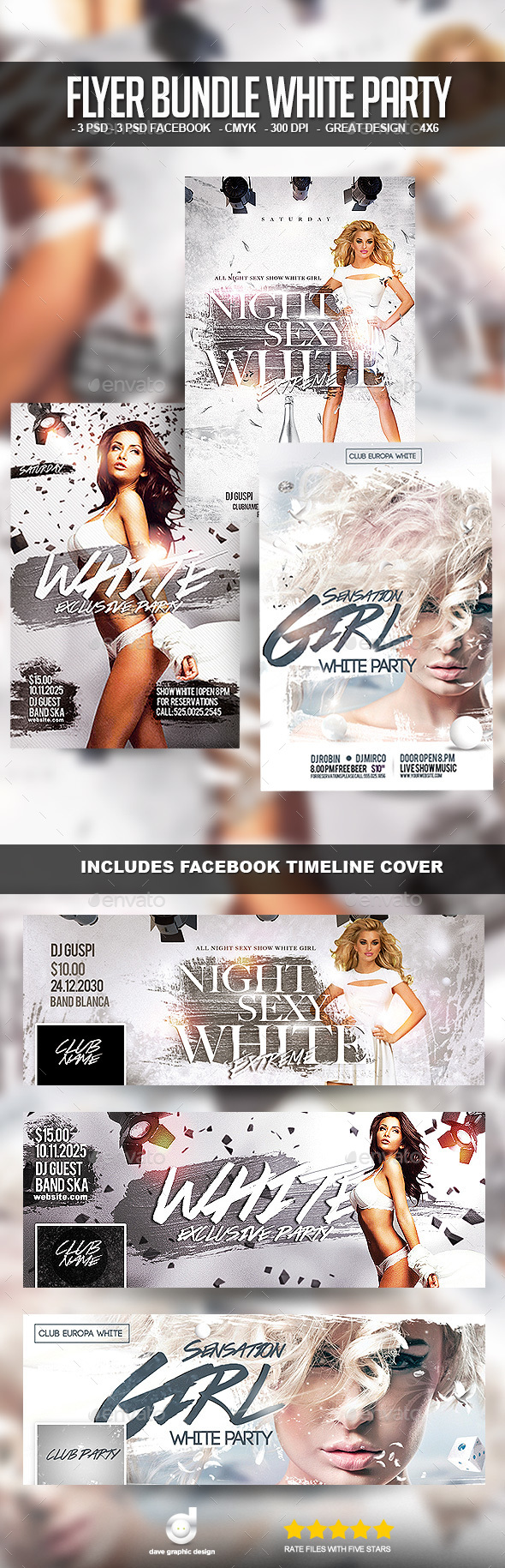 Flyer Bundle White Party - Clubs & Parties Events