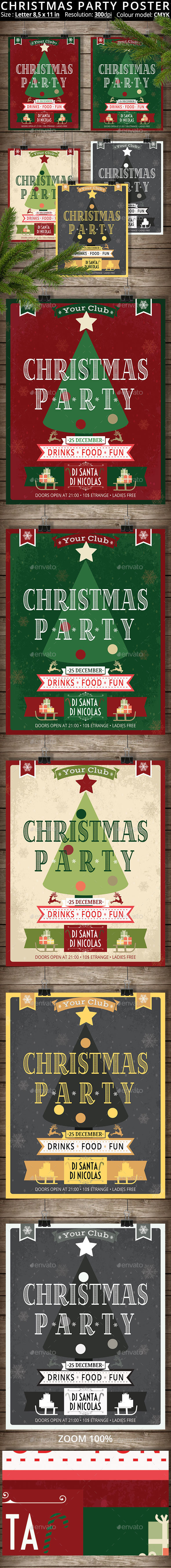5 Posters Christmas Party - Cards & Invites Print Templates