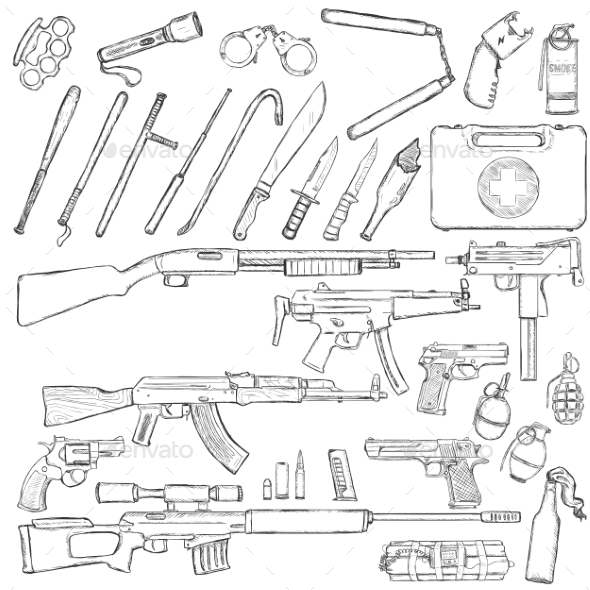 Set of Weapons and Equipment - Man-made Objects Objects