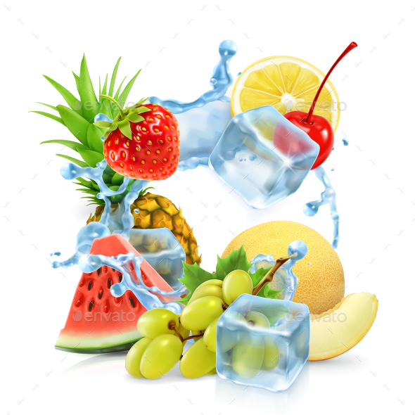 Multi Fruits with Ice Cubes - Vectors