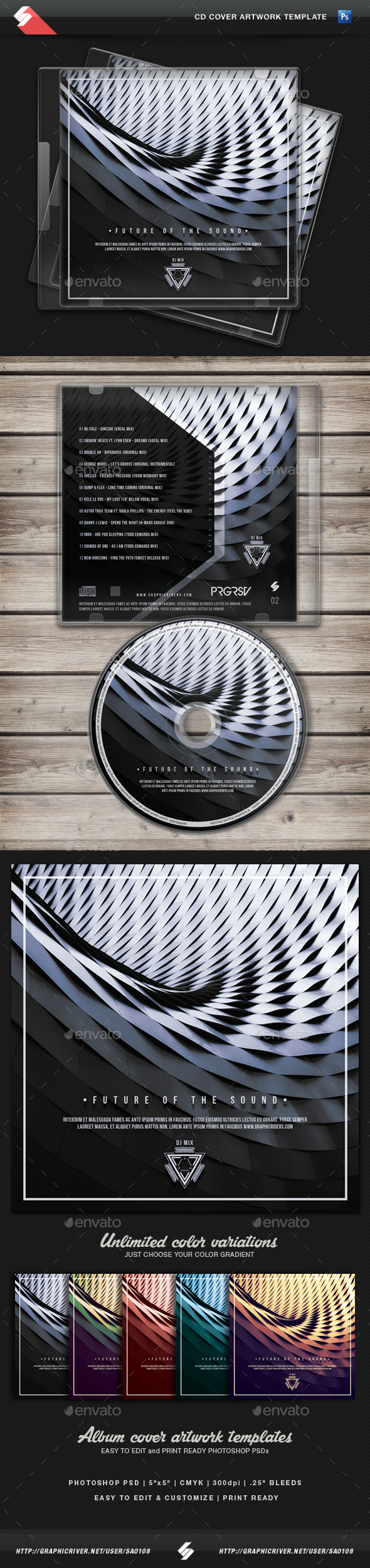 Future Of The Sound vol.2 - CD Cover Template - CD & DVD Artwork Print Templates