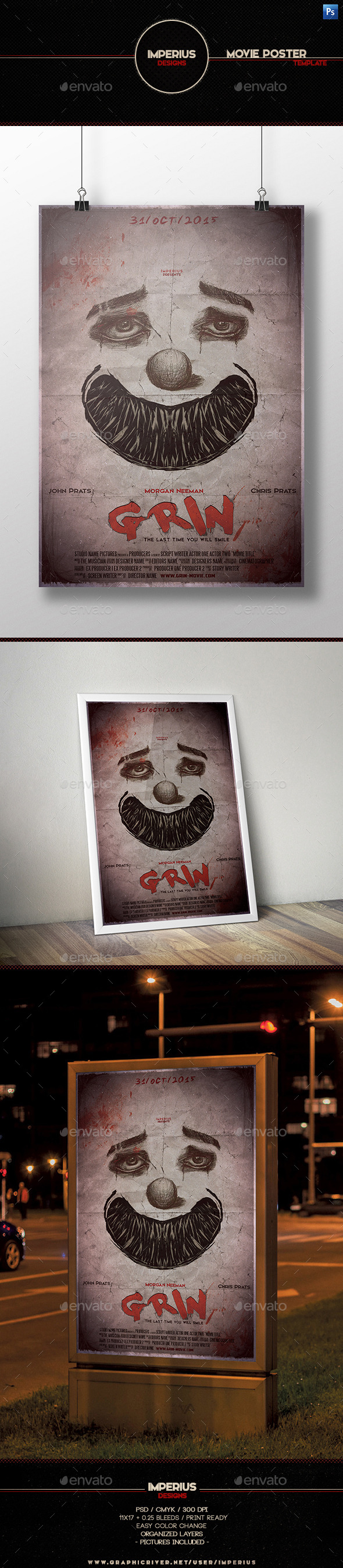 Grin Movie Poster - Miscellaneous Events
