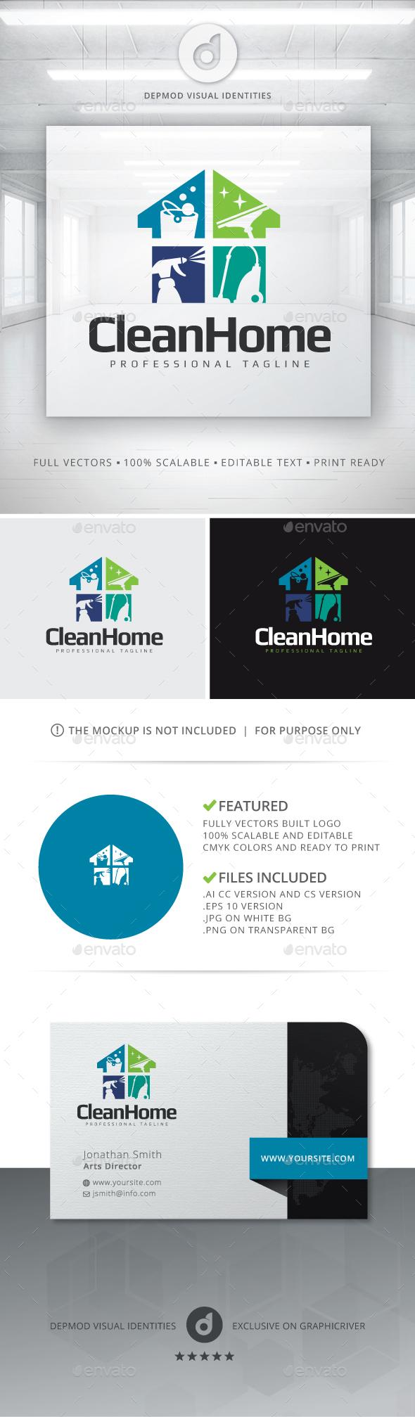 Clean Home Logo - Symbols Logo Templates