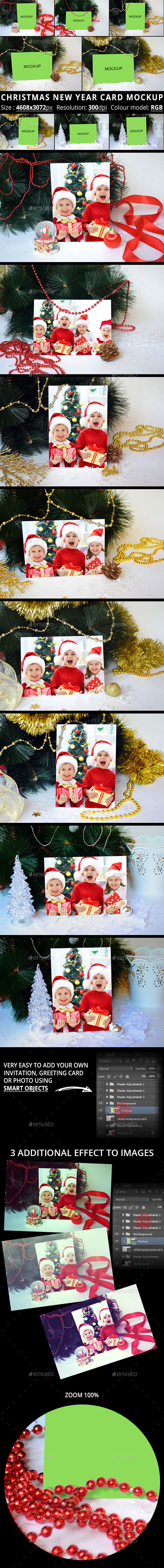 Christmas New Year Card Mockup - Print Product Mock-Ups