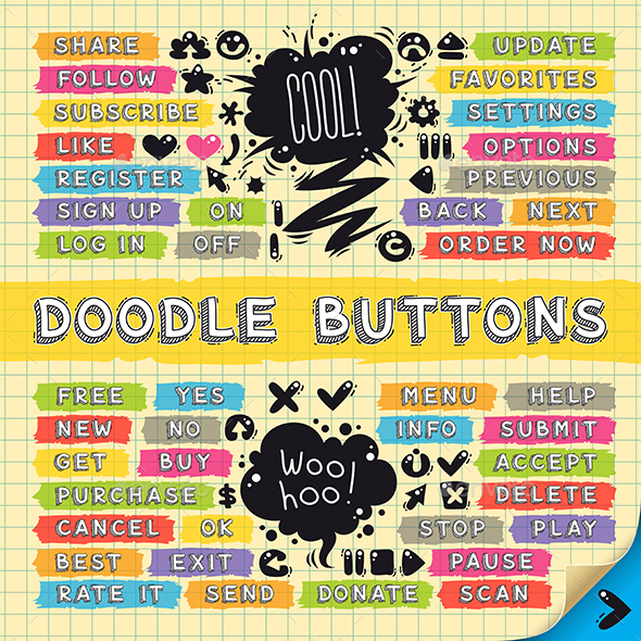 Hand Drawn Sketchy Doodle Buttons Set - Web Elements Vectors